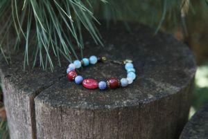 Браслет из лунного камня Женский браслет сине-розовый с кварцем и аквамарином