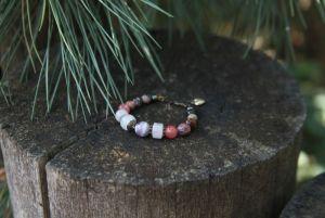 Браслет из аметиста Женский браслет с розовым кварцем