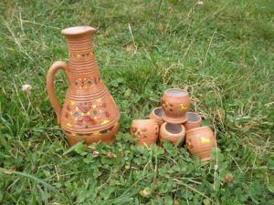 Керамика ручной работы Бутылка и 6 рюмок