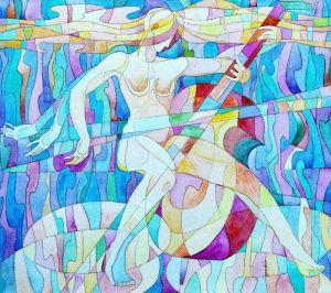 Нарисованные картины Голубая мелодия