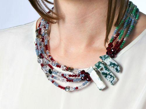 Оригинальное двустороннее ожерелье с моховым агатом