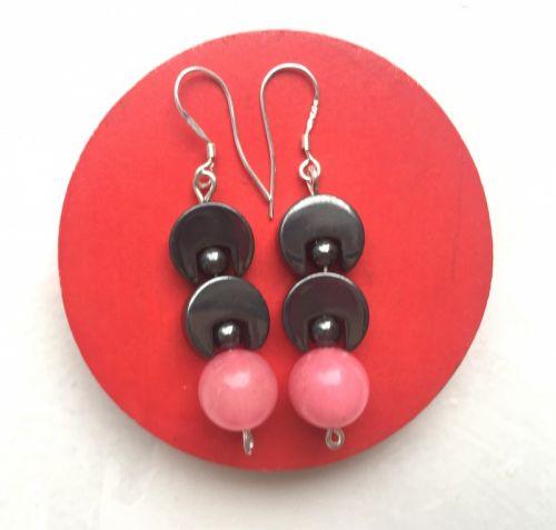 Серебряные серьги с розовым сердоликом