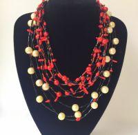 Ожерелье с двумя видами коралла и яшмой