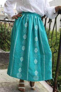 Модная женская одежда Юбка бирюза