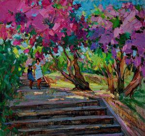 Нарисованные картины В сиреневом саду