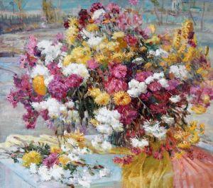 Нарисованные картины Осенние цветы
