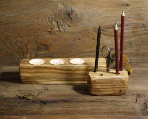 Вироби з дерева ручної роботи Свічник та підставка під олівці
