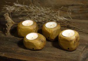 Вироби з дерева ручної роботи Свічники дерев`яні, набір з чотирьох свічників