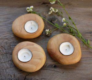Вироби з дерева ручної роботи Свічники дерев`яні, набір з трьох свічників