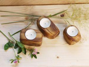 Декор для дома Подсвечники деревянные, набор из трех подсвечников