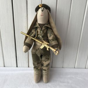 Куклы ручной работы Заяц - военный