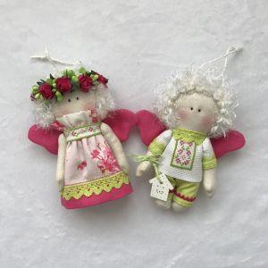 Куклы ручной работы Парочка малиновых ангелочков