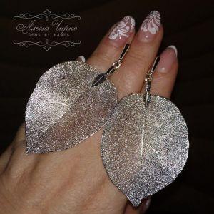 """Чирко Олена Срібні сережки з природними металізованим листям """"Шеллі"""""""