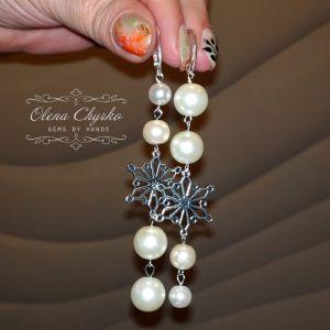 """Білі сережки Асиметричні сережки з штучними перлами """"Сніжана"""""""