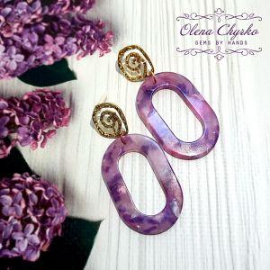 """Фіолетові сережки Сережки в стилі 70-х """"Емі"""""""