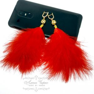 Серьги с хрусталем Серьги с перьями - красные (большие)