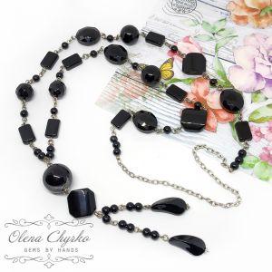 Ожерелья и колье ручной работы Сотуар с черным агатом