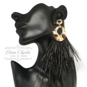 """Earrings Сережки з пір'ям страуса """"Нора"""""""
