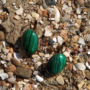 """Cережки з зеленим каменем Сережки з малахітом """"Марія"""""""