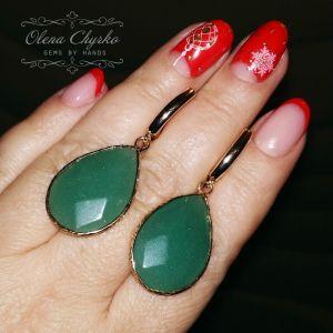"""Cережки з зеленим каменем Сережки краплі з нефритом """"Джейн"""""""