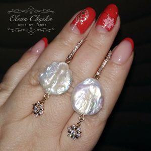 """Білі сережки Сережки з натуральними бароковими перлами """"Лена"""""""