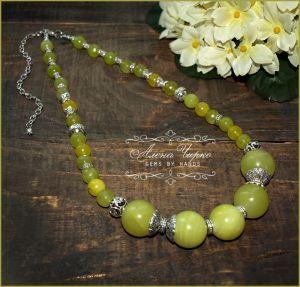 """Ожерелье из оникса Бусы """"Зеленые яблоки"""""""