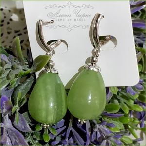 """Серьги с ониксом Серьги """"Зеленые груши 2"""""""