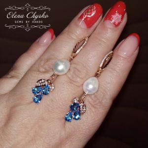 """Блакитні сережки Легкі з натуральними перлами і блакитними фіанітами """"Мирослава"""""""