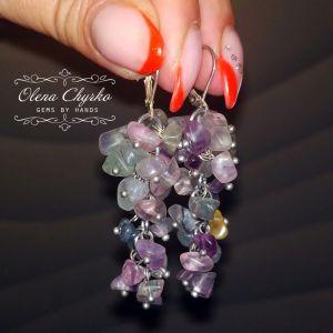 """Фіолетові сережки Сережки-грона з натуральним флюоритом """"Яна"""""""