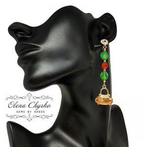 """Cережки з зеленим каменем Сережки з хризопразом і сердоліком """"Майя"""""""