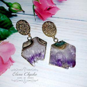 """Фіолетові сережки Сережки зі зрізами кристалів аметисту """"Ілона"""""""
