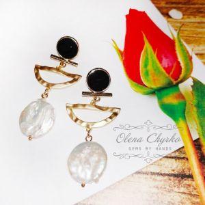 """Білі сережки Сережки з бароковими перлами """"Інга"""""""