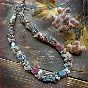 "Ожерелье из жемчуга Бусы ""Осенний лес"""