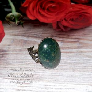 Кольца ручной работы Кольцо с моховым агатом в винтажном стиле.
