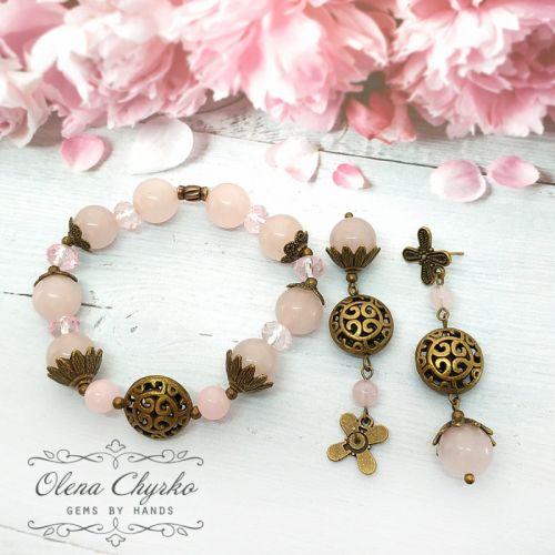 """Сережки і браслет з рожевим кварцом """"Азалія"""""""