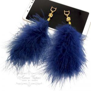 Серьги с хрусталем Серьги с перьями - синие (большие)