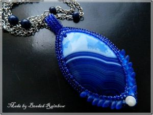 Кулон с агатом Кулон Синяя Птица