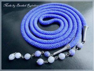 """Ожерелье из бисера Лариат """"Морозный синий"""""""