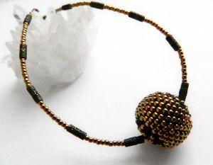 Ожерелье из дерева Минималистик с бусиной Бронзово-чёрный