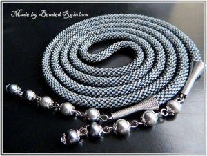 """Ожерелье из бисера Лариат """"Темное серебро"""""""