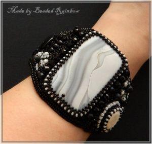 """Чёрный кожаный браслет  Браслет """"Коко"""""""