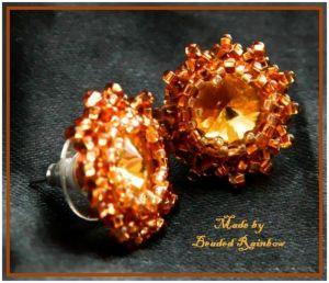Серьги из бисера Серьги-пуссеты желтый кристалл
