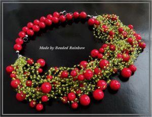 Ожерелье из бисера Ожерелье Калиновые гроздья