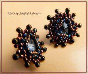 Серьги из бисера Серьги-пуссеты синий кристалл