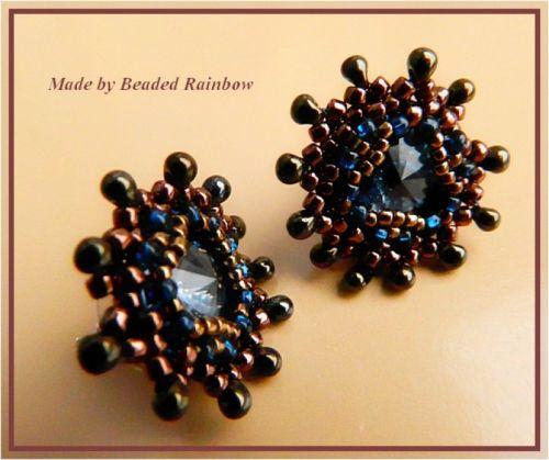 Серьги-пуссеты синий кристалл