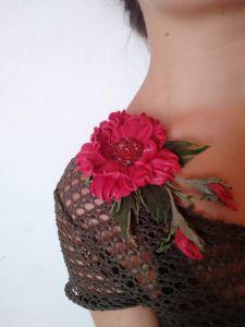 Брошь из кожи Брошь-заколка Волшебный цветок