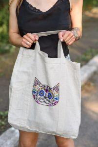 Еко сумка ручної роботи Сумка-шопер Calavera Gato