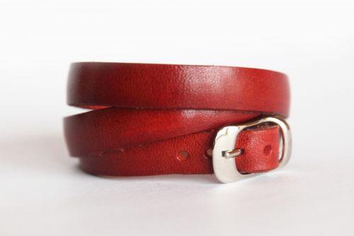 Браслет-ремінець з червоної натуральної шкіри