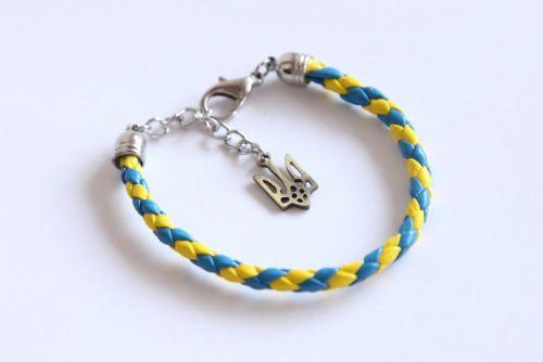 Жовто-блакитний плетений браслет з натуральної шкіри