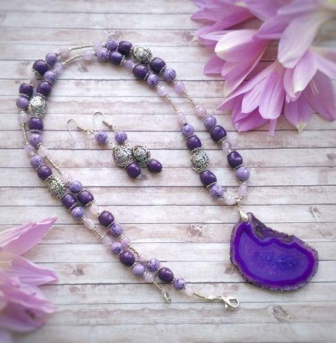 """Намисто і сережки """"Deep purple"""""""